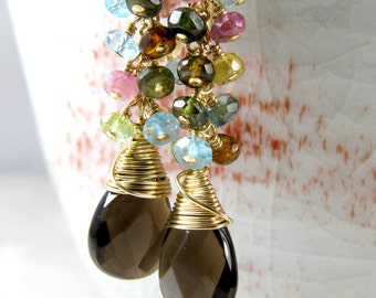 Genuine Smoky Quartz Earrings, Brown Chandelier, Multi Color Gemstone Cluster Long Dangle, Autumn Wedding Jewelry, Smoked Topaz Gold Gift