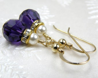 Dark Purple Earrings, Swarovski Crystal, Gold Filled, Violet, Pearl Accent, Bridesmaid, Bridal Party, Autumn Wedding Handmade Jewelry