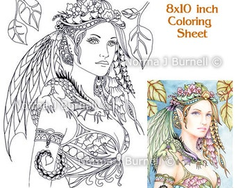 Cybele And Kaida Little Dragon Fairy Tangles Printable Coloring Sheet Book Page By Norma J