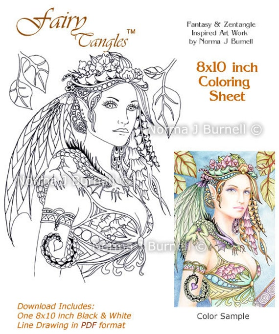 cybele and kaida little dragon fairy tangles printable coloring sheet coloring book page by norma j burnell fairies dragons to color - Coloring Pages Dragons Fairies