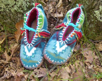 Turquoise Torqued- Felted Blanket Wool/ Wool Lined / Sheepskin & Leather Soles Moccasins / Slippers - Women's or Men's Sizes