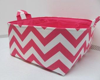 "Diaper Caddy - Fabric Storage Basket - 11""x11"" Organizer Bin - Storage box - Diaper Bag - Baby Gift - Nursery Decor -Hot Pink Chevron Zigzag"