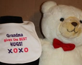 Embroidered Bib for Baby-GRANDMA Gives Best Hugs