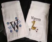 Embroidered Personalized Burp Cloth Set for Boy or Girl- Giraffe