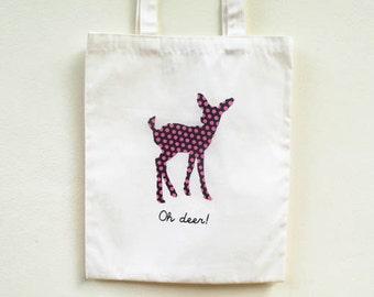 Oh! Deer Tote bag / Deer Tote bag/ Woodland Tote/ Reindeer Tote Bag/ Christmas Reindeer Tote Bag/ Screen printed tote bag