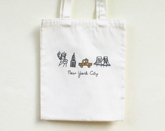 New York City Tote Bag/ Brooklyn Tote Bag / Statue of Liberty/ NYC/ Yellow Cab/ Empire State Building/ Brooklyn Bridge/Travel Gift