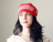 MAE JONES ---x--- Cloche inspired hat in 'Scandi Red', made from upcycled vintage fabrics - Made to order...Free Shipping