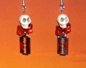 Bloody Mary Skull Bow and Razor Blade Earrings, Punk, Goth, Geek