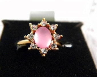 Vintage Pink Adjustable Ring with Rhinestones
