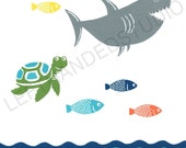 Target Circo FISH Collection Art Print, SHARK Bath Decor, TURTLE Wall Art, Childrens Bath Art