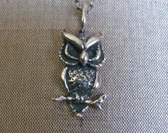 Owl Necklace, Sterling Silver Owl Charm Necklace, Silver Owl Necklace, Christmas Gift Ideas, Forest Animal, Simple Necklace, Holiday Gift
