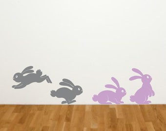 Bunny Rabbits wall decals - set of 4 bunnies Easter or Baby wall decor - woodland animal wall decals - rabbits - baby bunny - kids room art