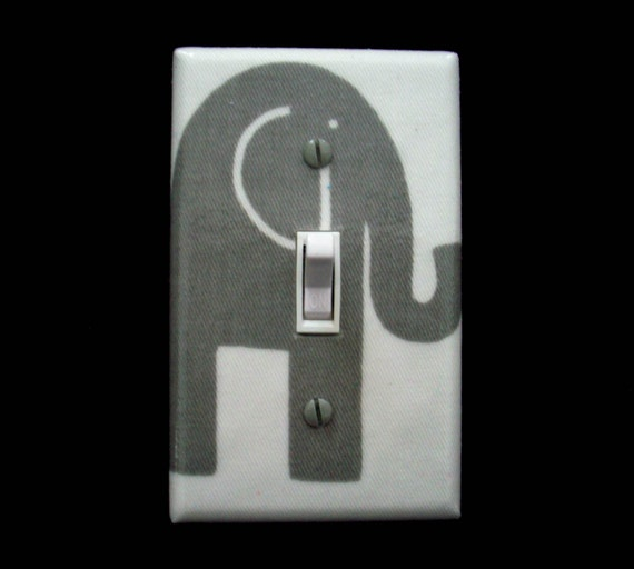 Elephant Light Switch Cover Grey Gray By Cathyscraftycovers