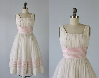 Vintage 1950s Dress / 50s Formal Dress / Party Dress / Pink and White / Ballet Slipper