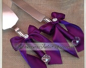 Elite Satin Cake Server Set with Rhinestone Accent ..You Choose The Bow Colors..shown in plum aubergine