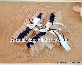 Organza Satin Skirted Garter Set..Many Colors Available for Custom Orders..shown in ivory/navy blue
