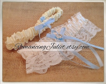 Lovely Vintage Style Ivory Lace Garter Set with Light Blue and Vibrant Crystal Accents...