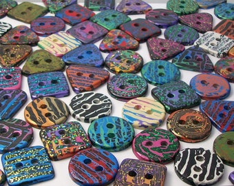 Handmade Resin Sewing Buttons - MY CHOICE of 18 different buttons, round, square and triangle PLUS 3 extra