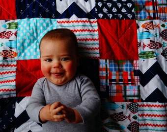 Patchwork Crib Quilt, YOU PICK FABRIC, Granny Chic in Modern fabrics baby bedding