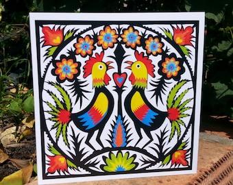 Rooster Wycinanki - greetings card