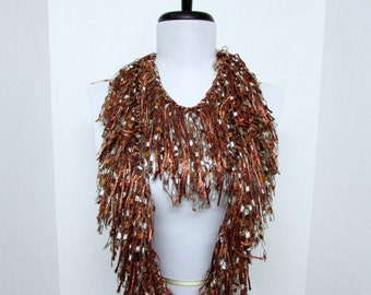 Fringe Binge Fringe Necklace Scarf  in Bronze, Cream,  Gold Ready to Ship. Infinity Scarf Circle Scarf Knotted  Shredded Crochet Multicolor