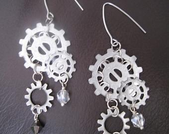 Steampunk Silver Gear Earrings
