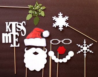 Photobooth Holiday Props. Holiday Photo Booth Props. Photo booth Photo Props. Santa Claus