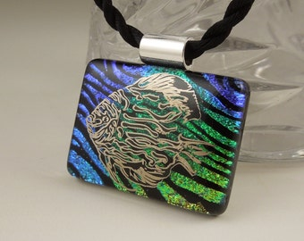 Fish Necklace - Ocean Beach - Dichroic Fused Glass Pendant - Fused Glass - Image Pendant - Dichroic Glass X8694