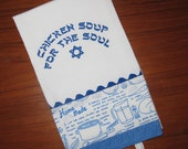 Chicken Soup for the Soul Embroidered Fabric Banded Tea Towel Black or Blue