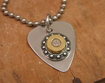 "Bullet Jewelry - ""Power Pickin"" Stainless Guitar Pick 9mm Bullet Casing Necklace"