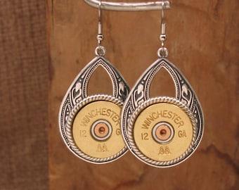 Shotgun Casing Jewelry - Bullet Jewelry - Gun Jewelry - 12g or 20g Large Teardrop Southwest Style Shotgun Casing Dangle Earrings