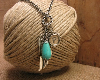 """Typewriter Key Jewelry - Angel Wing / Memories Necklace - Off White Initial """"P"""" Typewriter Key - Turquoise Color Magnesite Teardrop"""