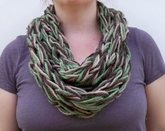 REDUCED 50% OFF Sale - Arm Knit Scarf - Chunky Infinity Scarf - Multicolor Cowl - Womens Neck Warmer