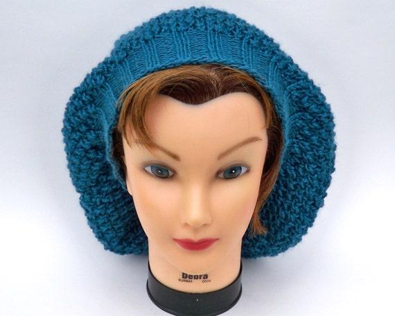 SALE 20% OFF - Slouchy Beanie - Women's Knit Tam - Capri Teal Baggy Boho Hippie Hat - Wool Silk Bamboo Winter Beret - Knit Accessories