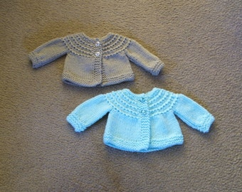 Hand Knitted - Teal or Beige Baby Sweater