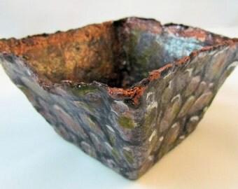 Bowl - Paper mache  square. Copper colored interior.  Decorative bowl for home in a high gloss finish.