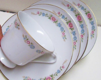 Teacups 4 Sets Matching Tea Party Wedding Favors Vintage Pink Turquoise Floral China Tea Cups Saucers Lot Mix Match Orphans Mad Hatter Blue