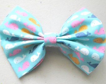 Little Whales Patterned Fabric Hair Bow