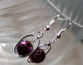 Pearl beaded earrings,Boho Large Silver Hoop Earrings,Purple pearl Earrings, Boho Earrings,Freshwater Pearl Earrings, Coin Pearl Earrings