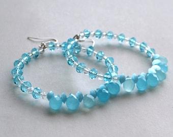 Swarovski Beaded Hoop Earrings,gemstone hoop earrings ,wire wrapped hoops ,hoop earrings,wrapped hoops,boho earrings,Gypsy earrings, Bali