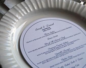 "Circular Dinner Menu - 6.5"" Round - Calligraphy Wedding Reception"