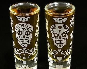 2 Shot Glasses Dia De Muertos, Etched Glass Sugar Skull Shooter Set, great gifts for men