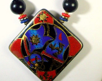 Nautical Flags Necklace 1980s Japan, Red Black Gold Lucite n Metal Beads and Pendant, Unused, Anchors Away