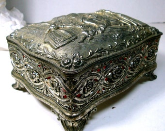 Large Vintage Metal Trinket Box, 1950s, Japan, Shabby Silver Metal, Ornate French Figural Design Jewelry Box,  Red Lined, Footed