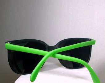 1970s Black Sunglasses, Bright Green Arms, Unused, Just Opened a Stash Vintage Box from My NYC East Village Old Shop, Black w LIME