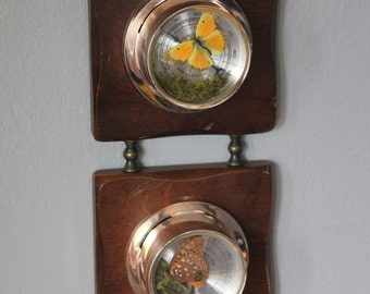 OOAK Upcycled Weather Gauge With Moth Butterfly Art