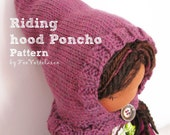 Riding hood poncho PDF knitting pattern by FeeVertelaine for instant dowload