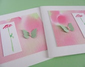 Set of 2 Watercoloured Cards with 3D Butterflies. Apple Green. Spring Blossom Pink. 5x5 inches. Card Art. OOAK. - aboundingtreasures