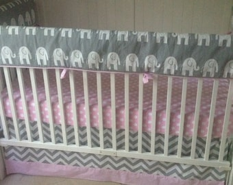 Baby Girl Crib Bedding Set Light Pink And Gray Elephants Bumperless