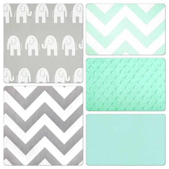 Crib Bedding Set Gray Mint Green Elephant By Butterbeansboutique